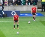 Owen Farrell, right, and George Ford practice their kicking as they battle it out for the starting fly-half spot. Photo: John Evely