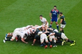 England's front row continue to impress in the scrum. Photo: John Evely