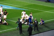 South Africa score in the corner against England. Photo: John Evely