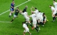 England attempt  the charge down. Photo: John Evely